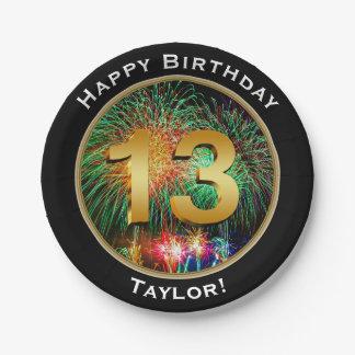 De Dertiende 13de Verjaardag van het vuurwerk met Papieren Bordje