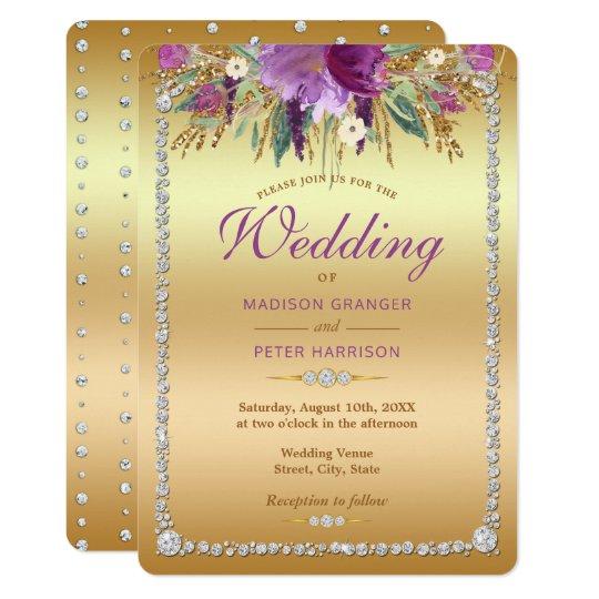 De diamant schittert het Huwelijk van de Bloemen 12,7x17,8 Uitnodiging Kaart