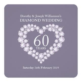 De diamantenhart 60 van de diamanten bruiloft 13,3x13,3 vierkante uitnodiging kaart