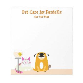 De Diensten van de Babysitter van het huisdier Notitieblok
