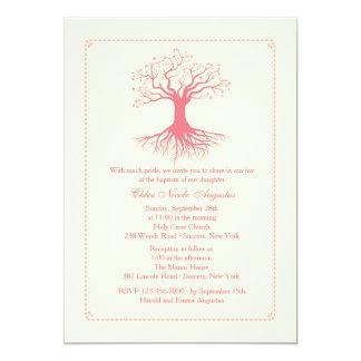 De diepgewortelde Roze Uitnodiging van het Doopsel 12,7x17,8 Uitnodiging Kaart