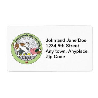 De Dieren van de liefde eten hen niet Veganist Etiket