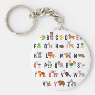 De Dieren van het alfabet - super leuk! Basic Ronde Button Sleutelhanger