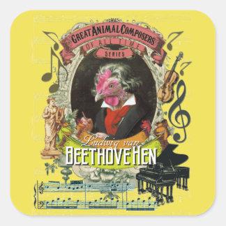 De Dierlijke Componisten Beethoven van de Kip van Vierkante Sticker