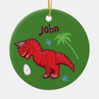 De Dinosaurus Carnotaurus van het baby Rond Keramisch Ornament