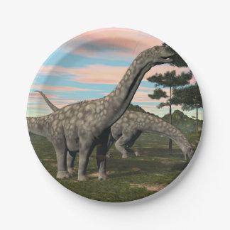 De dinosaurus die van Argentinosaurus 3D boom eten Papieren Bordjes