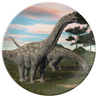 De dinosaurus die van Argentinosaurus 3D boom eten Porselein Borden