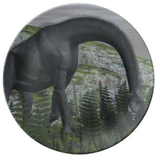 De dinosaurus die van Brachiosaurus 3D varen eten Borden Van Porselein