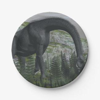 De dinosaurus die van Brachiosaurus 3D varen eten Papieren Bordjes
