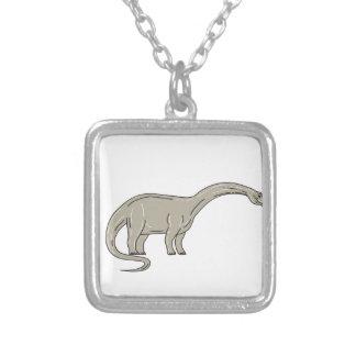 De Dinosaurus die van Brontosaurus onderaan Zilver Vergulden Ketting