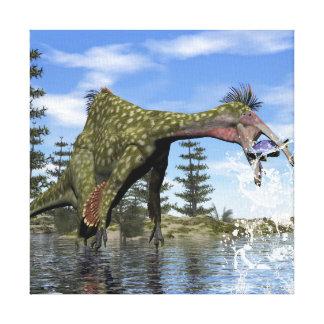 De dinosaurus die van Deinocheirus 3D vissen - Canvas Print