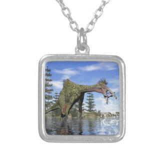 De dinosaurus die van Deinocheirus 3D vissen - Zilver Vergulden Ketting