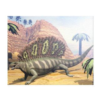 De dinosaurus die van Edaphosaurus in de woestijn Canvas Afdruk