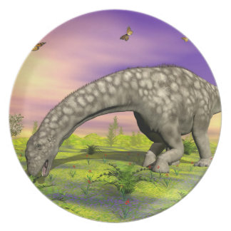 De dinosaurus van Argentinosaurus 3D eten - geef Melamine+bord