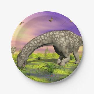 De dinosaurus van Argentinosaurus 3D eten - geef Papieren Bordjes