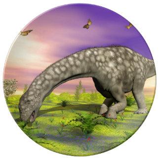 De dinosaurus van Argentinosaurus 3D eten - geef Porseleinen Bord