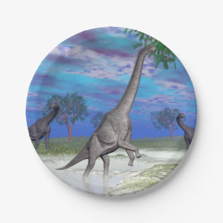 De dinosaurus van Brachiosaurus 3D eten - geef Papieren Bordjes