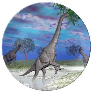 De dinosaurus van Brachiosaurus 3D eten - geef Porselein Borden