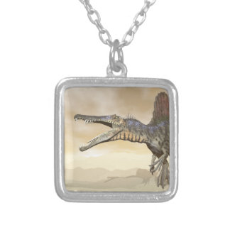 De dinosaurus van Spinosaurus in de 3D woestijn - Zilver Vergulden Ketting