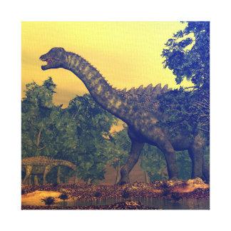 De dinosaurussen van Ampelosaurus Canvas Afdruk