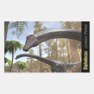De Dinosaurussen van Diplodocus in een Rechthoekige Sticker
