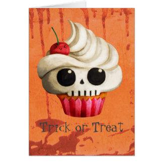 De Dodelijke Schedel Cupcake van Halloween Kaart