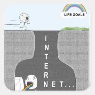 De Doelstellingen van het leven versus Internet. Vierkante Sticker