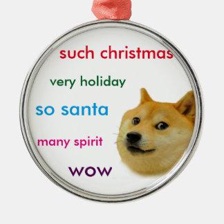 De Doge van Kerstmis Zilverkleurig Rond Ornament