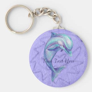 De Dolfijn Keychain van de indigo Basic Ronde Button Sleutelhanger