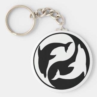 De Dolfijn Keychain van Yang van Yin Basic Ronde Button Sleutelhanger