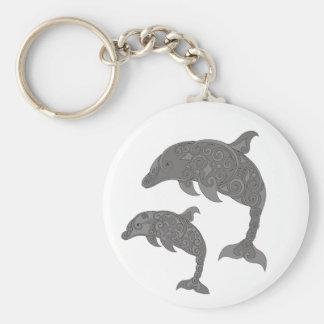 De Dolfijn van de moeder met Baby Basic Ronde Button Sleutelhanger