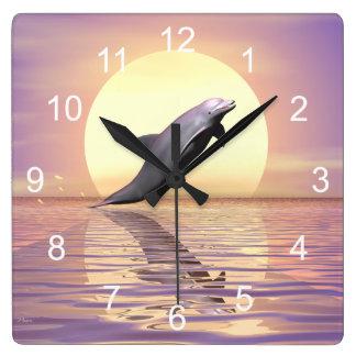 De Dolfijn van de zon Vierkante Klok