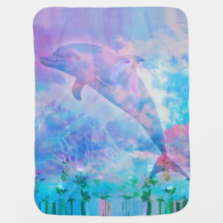 De dolfijn van Vaporwave in de hemel Inbakerdoek