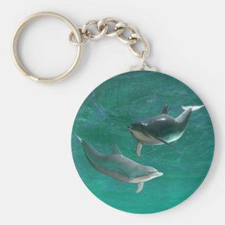 De Dolfijnen van Wonderous Basic Ronde Button Sleutelhanger