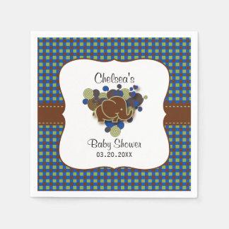 De donkerblauwe & Bruine Olifant van het Baby | Wegwerp Servet