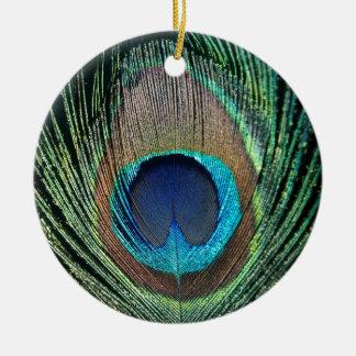 De donkere Veer van de Pauw Rond Keramisch Ornament