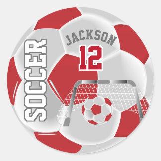 De donkerrode en Witte Bal van het Voetbal Ronde Sticker
