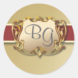 De donkerrode & Gouden Elegante Verbinding van de Ronde Sticker
