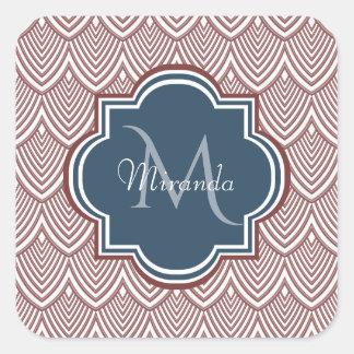 De donkerrode Naam van het Monogram van de Vierkante Sticker