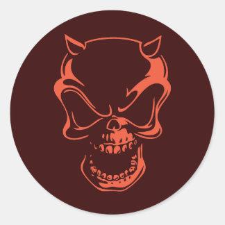 De donkerrode Schedel van de Demon Ronde Sticker