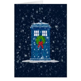 """De """"doos van de politie in de Sneeuw van Kerstmis"""" Wenskaart"""