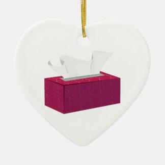 De Doos van het weefsel Keramisch Hart Ornament