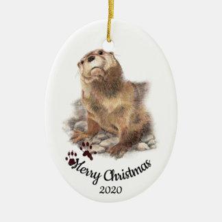 De douane Gedateerde Leuke Otter van de Waterverf Keramisch Ovaal Ornament
