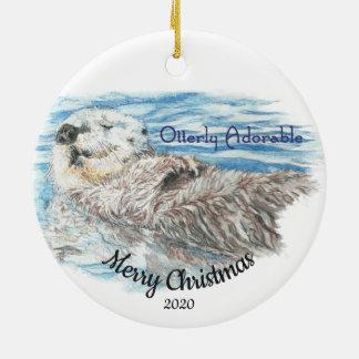 De douane Gedateerde Schattige Otter van Otterly Rond Keramisch Ornament