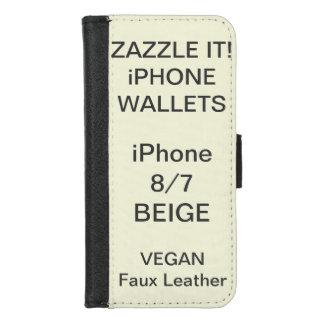 De douane personaliseerde BEIGE iPhone 8/7 Spatie iPhone 8/7 Portemonnee Hoesje