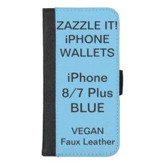 De douane personaliseerde BLAUWE iPhone 8/7 plus iPhone 8/7 Plus Portemonnee Hoesje