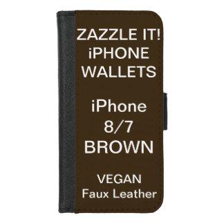 De douane personaliseerde BRUINE iPhone 8/7 Spatie iPhone 8/7 Portemonnee Hoesje