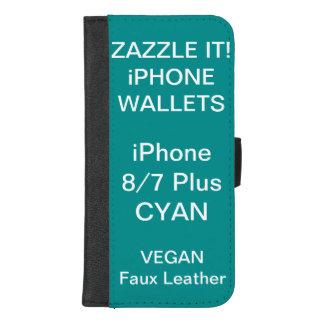 De douane personaliseerde CYAANiPhone 8/7 plus iPhone 8/7 Plus Portemonnee Hoesje