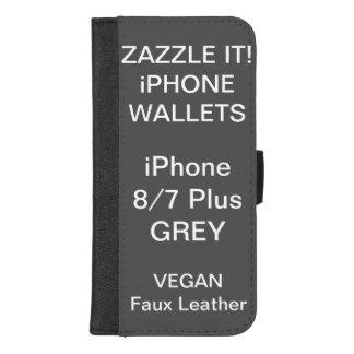 De douane personaliseerde GRIJZE iPhone 8/7 plus iPhone 8/7 Plus Portemonnee Hoesje