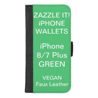 De douane personaliseerde GROENE iPhone 8/7 plus iPhone 8/7 Plus Portemonnee Hoesje